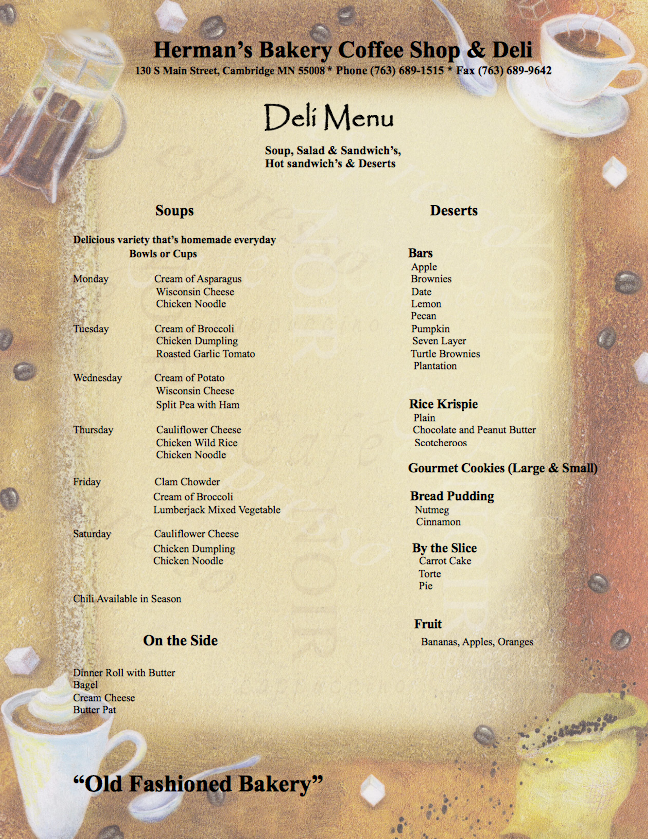 Deli Soup Menu